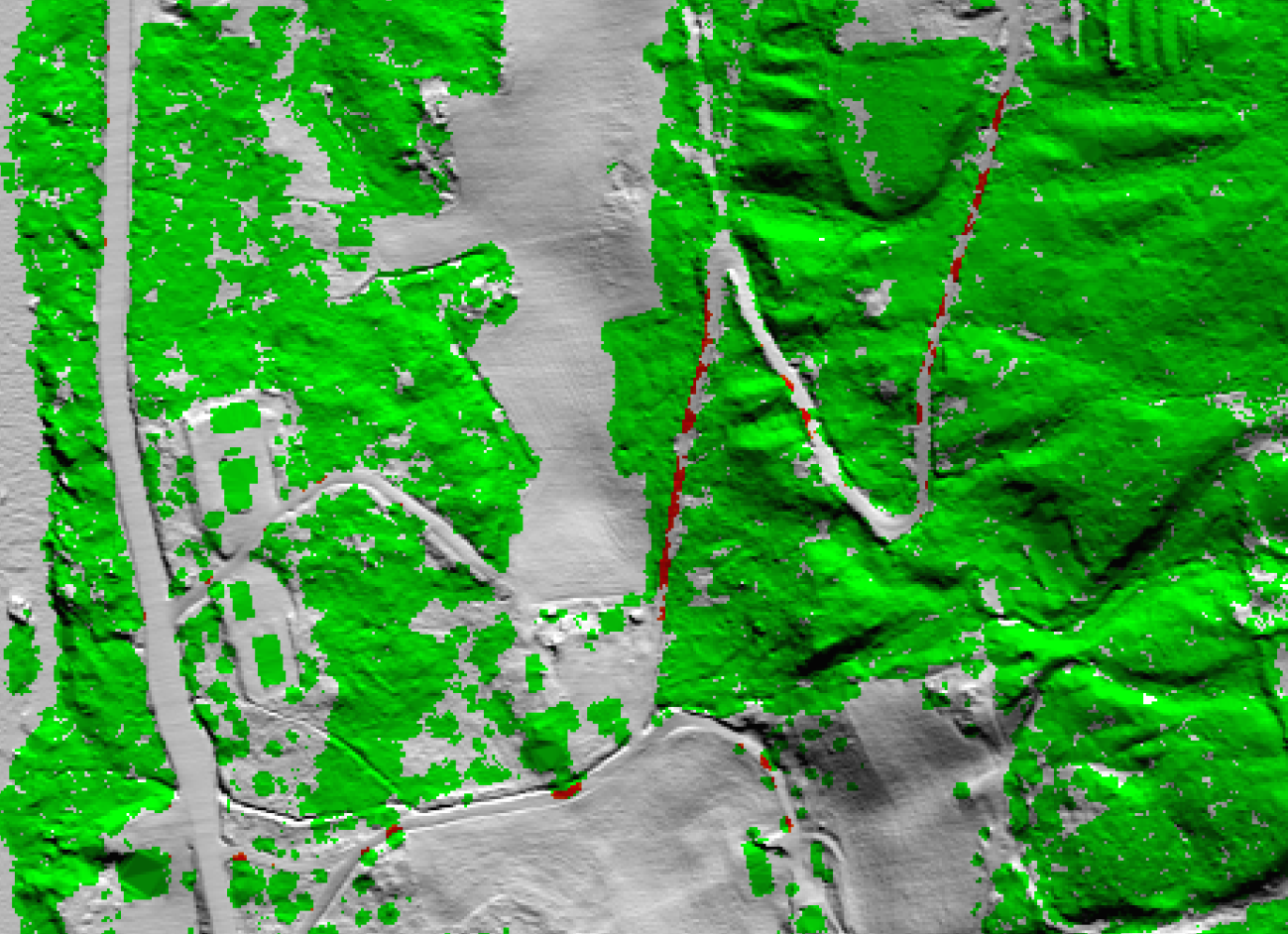 Result of automatic detection of overhanging vegetation along roads. Green: vegetation (and also buildings) higher than 1 m outside of roads. Red: vegetation higher than 1 m overlapping roads. White: No vegetation higher than 1 m.